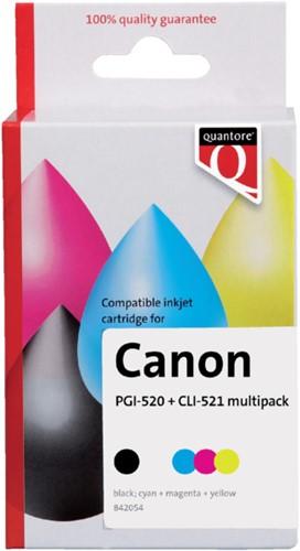 Inktcartridge Quantore Canon PGI-520 CLI-521 2zwart + 3kleur