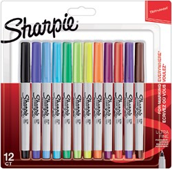 Viltstift Sharpie rond 0.5mm blister à 12 stuks fun assorti