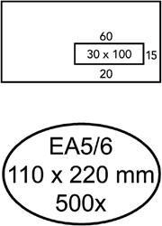 Envelop Hermes EA5/6 110x220mm venster 3x10rechts zelfkl 500