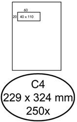 Envelop Hermes akte C4 229x324mm venster 4x11links 250stuks