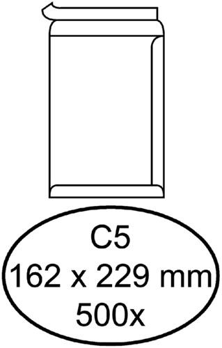 Envelop Quantore akte C5 162x229mm zelfklevend wit 500stuks
