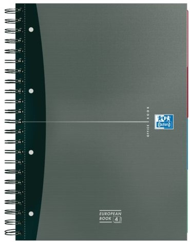 Cursusblok Oxford Essentials A4+ 120vel dubbelspiraal assorti-3