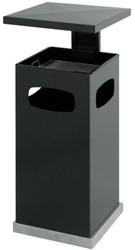 Asbak staand met deksel metaal antraciet 39,5x39,5x91cm