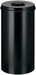 Papierbak met vlamdover Vepabins 80liter 47cm Zwart