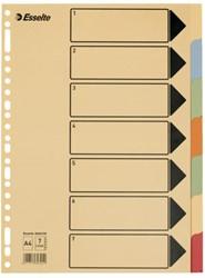 Tabbladen Esselte A4 23-gaats karton 7-delig assorti