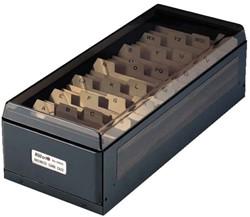 Visitekaartenbak KW-TRIO 75x105x270mm tbv 800 visitekaartjes metaal