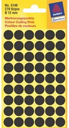Etiket Avery Zweckform 3140 rond 12mm zwart 270stuks