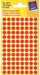 Etiket Avery Zweckform 3010 rond 8mm rood 416stuks