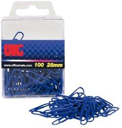 Paperclip Oic 28mm rond 100stuks blauw gelamineerd