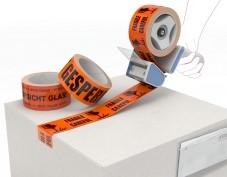 Waarschuwingstape, PVC, oranje fluo, Breekbaar-glas-fragile, 35µm, 50mm x 66.00m, solvent, doos met 36 rollen
