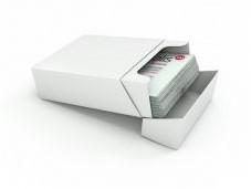 Visitekaartdoos , wit, kraft, 300gr, 60x95x36mm doos a 250stuks