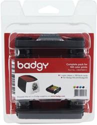 Pakket van 1x kleurenlint 2n 100 blanco kaarten van 0,76mm voor BAdgy100 of Badgy200