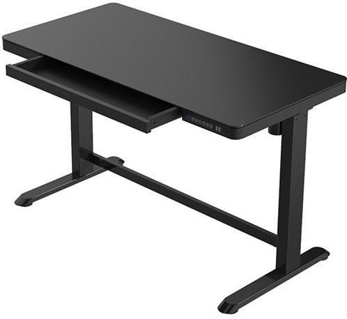 Zit-sta thuiswerkplek - elektrisch instelbaar - glazen blad zwart of wit- B 120 x D 60 cm