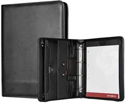 Samsonite Schrijfmap - Stationery Pro-DLX 4 Zip Folder A4 + Ringband zwart kunstleer