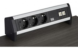 Stekkerdoos opbouw, 2x 230 V, 1x datapoort CAT6A, 1x USB dubbellader, 1x HDMI, 3 mtr snoer