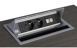 Stekkerdoos inbouw, 2x 230 V, 1x datapoort CAT6A, 1x HDMI, 3 mtr snoer