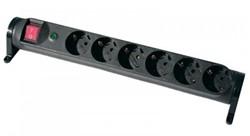 Stekkerdoos draaibaar, 6x 230 V, 3 mtr snoer, met spanningsbeveiliging