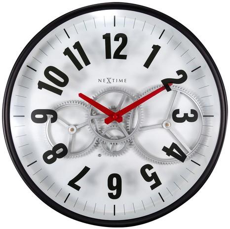 Wandklok Nextime 36cm Gear Clock wit metaal/glas