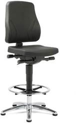 Werkstoel Se7en Industry hoog model met voetenring en glijders 9631 PUR zwart zitting en rug